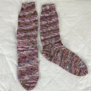 Handmade Womens Pink Knitted Ankle Socks Sz 7-9